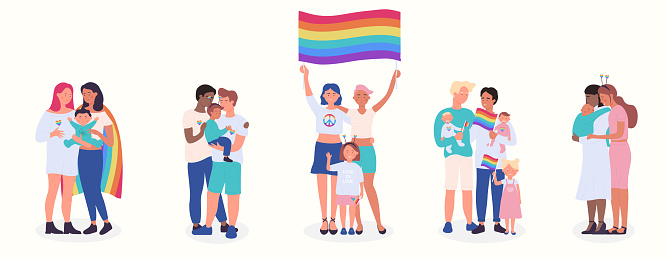 LGBT family flat vector illustration set, cartoon happy LGBT family people collection of gay lesbian bisexual couple parent character and adopted children