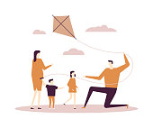 Family flying a kite - flat design style illustration on white background. Quality composition with young parents, children, son and daughter having a great time together. Outdoor activity concept