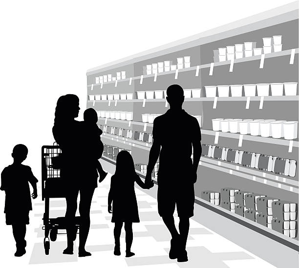 Family Food Shopping A vector silhouette illustration of a young family walking down the aisle of a grocery store dairy section.  There is a mother, father, young son and daughter, and a toddler held in the arms of the mother also pushing a shopping cart.  The shelves are stocked with yogurt with price tags. grocery aisle stock illustrations