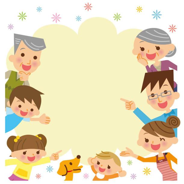 illustrazioni stock, clip art, cartoni animati e icone di tendenza di family frame. - solo giapponesi