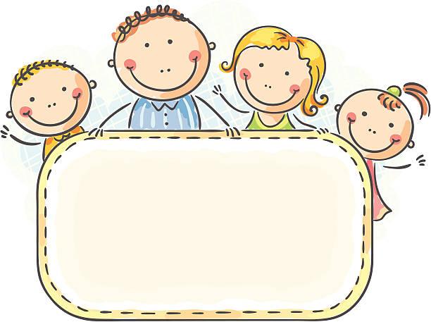 Family Frame Vector Art Illustration