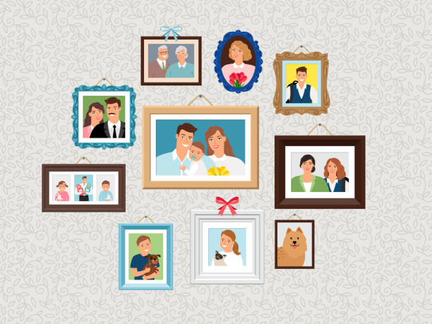 Family frames set. People portrait pictures, faces photoportraits on wall with kids and dog, wife and grandparents vector art illustration