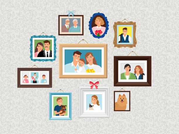ファミリ フレームセット。人々の肖像画の写真、子供や犬、妻や祖父母と壁に顔の写真 - 家族写真点のイラスト素材/クリップアート素材/マンガ素材/アイコン素材