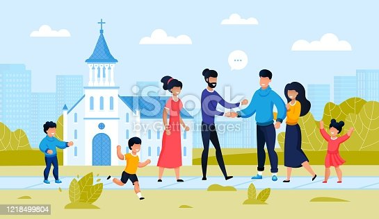 istock Family Friend Meeting at City Church Building 1218499804