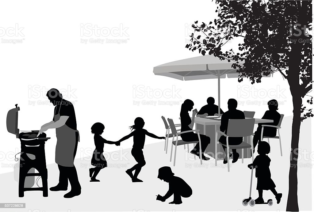 Family Friends Barbecue vector art illustration
