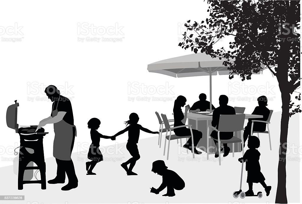 Familia y amigos barbacoa - ilustración de arte vectorial