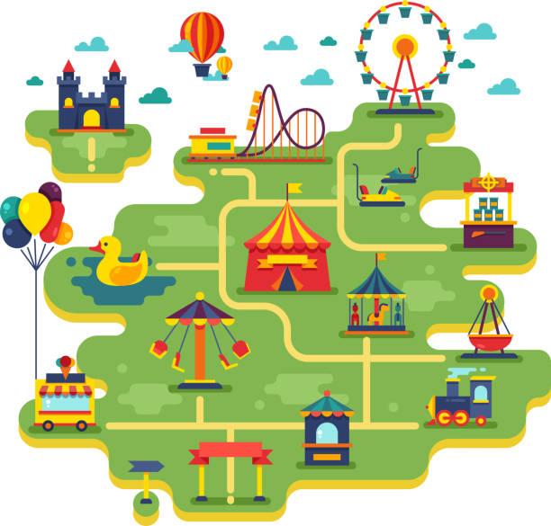 Family fun amusement park vector map. Entertainment in vacation vector background vector art illustration