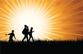 """Family Fun Time, Nature Hike or Walk Background. Tight silhouette background of a family walking or taking a nature hike. Family fun time. Check out my """"Family Matters"""" light box for more."""