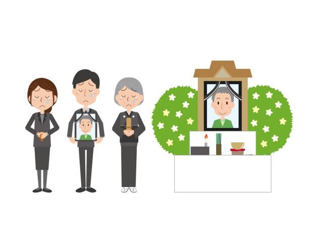 stockillustraties, clipart, cartoons en iconen met de illustratie van het begrafenisbeeld van de familie - funeral crying