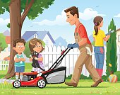 Vector illustration of a father mowing the lawn in his garden yard on a sunny day. His children are watching him and in the background his wife is cutting the hedge.