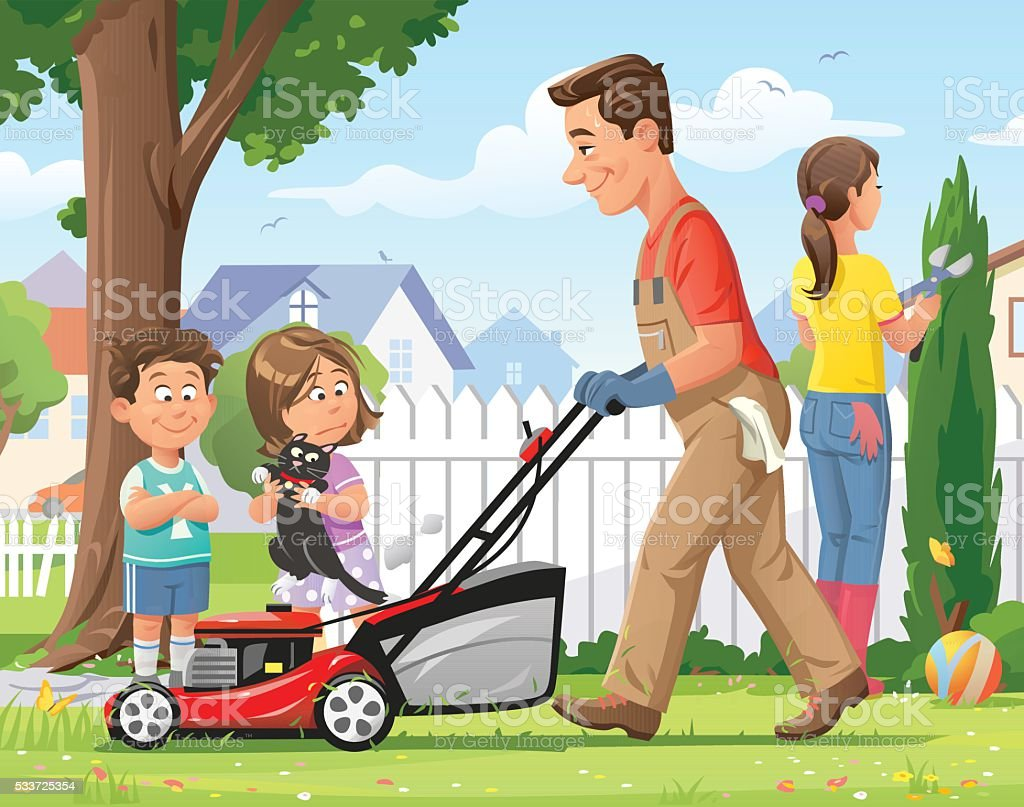 Family Gardening vector art illustration