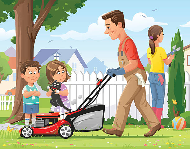 Family Gardening vector art illustration