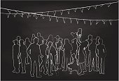 A chalk outline vector silhouette illustration of a family reunion with young adults, parents, children, under steamers.