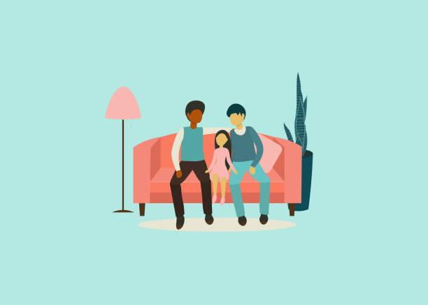 stockillustraties, clipart, cartoons en iconen met familie gay - adoptie