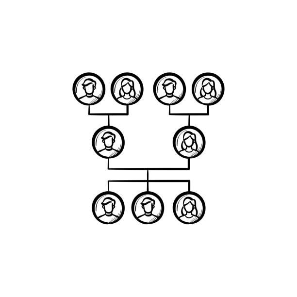 familie stammbaum handsymbol gezeichnete skizze - stammbäume stock-grafiken, -clipart, -cartoons und -symbole