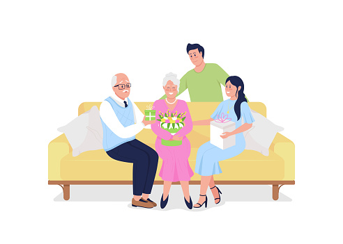Family generations celebrate holiday together flat color vector detailed characters