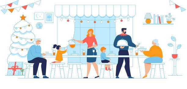 stockillustraties, clipart, cartoons en iconen met familie generaties kerstdiner vector concept - christmas family