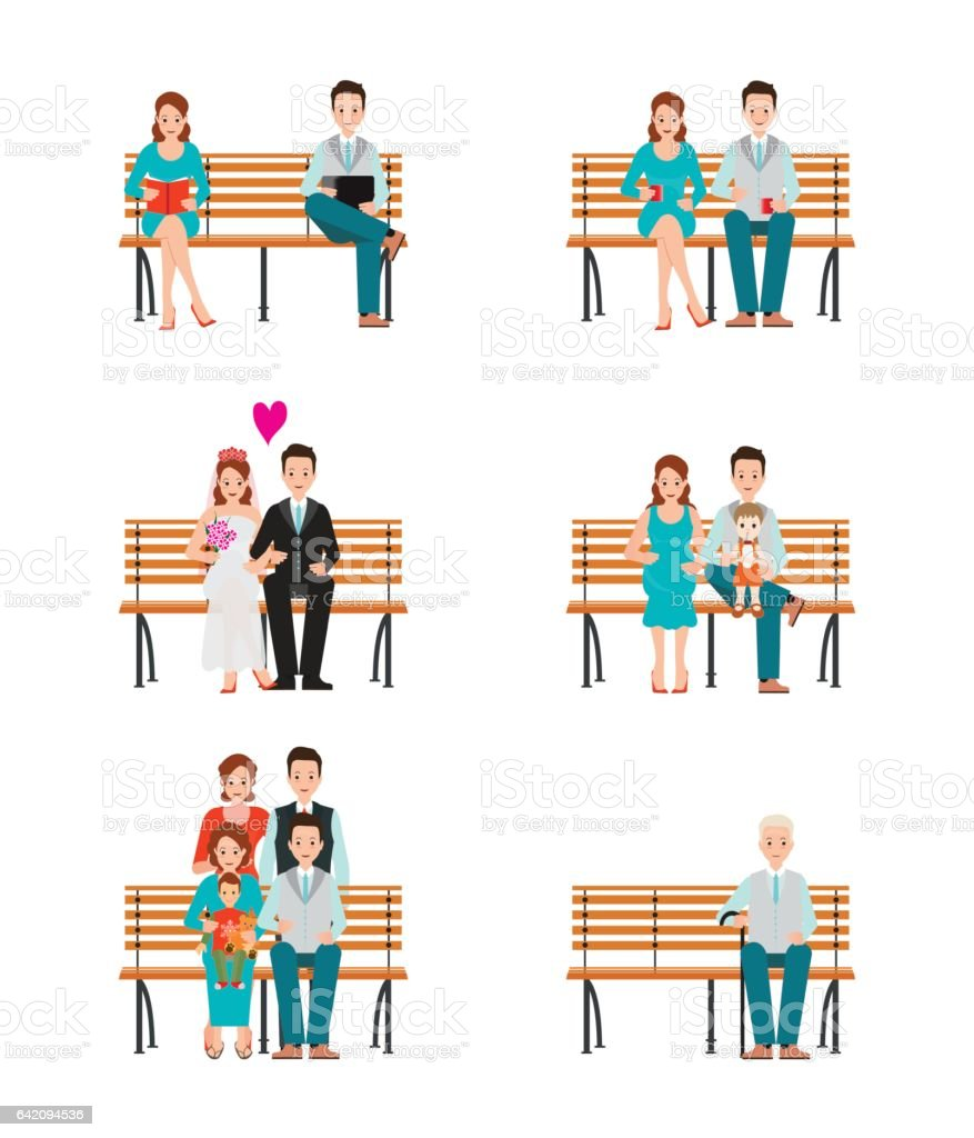 Family Generations Development Stages Process Over Time. vector art illustration