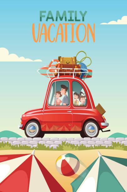 illustrations, cliparts, dessins animés et icônes de famille part en vacances dans une voiture classique rouge - vacances en famille