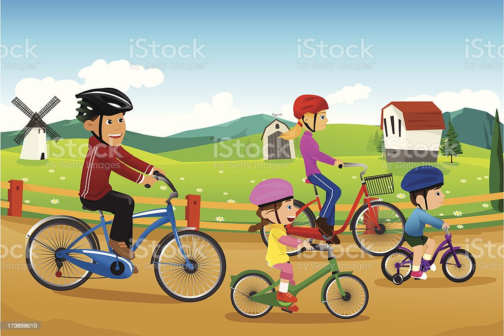 Family going biking together royalty-free stock vector art