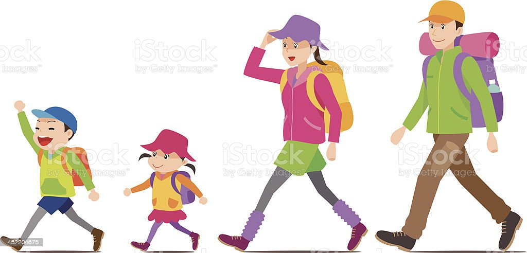 royalty free kids hiking clip art vector images