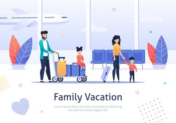 ilustrações, clipart, desenhos animados e ícones de família que vai em férias no terminal de aeroporto. - viagens e férias da família