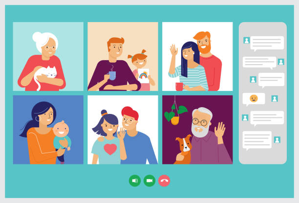 illustrazioni stock, clip art, cartoni animati e icone di tendenza di famiglia, nonni, bambini, coppia, giovani video chat su internet attraverso laptop, tablet o computer. concetto di coronavirus, nuovo coronavirus, covid-19 - family
