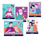 istock Family, grandparents, children, couple, young people video chatting on the Internet through laptop, tablet or computer. Covid-19 pandemic concept, Novel coronavirus outbreak 1219263860