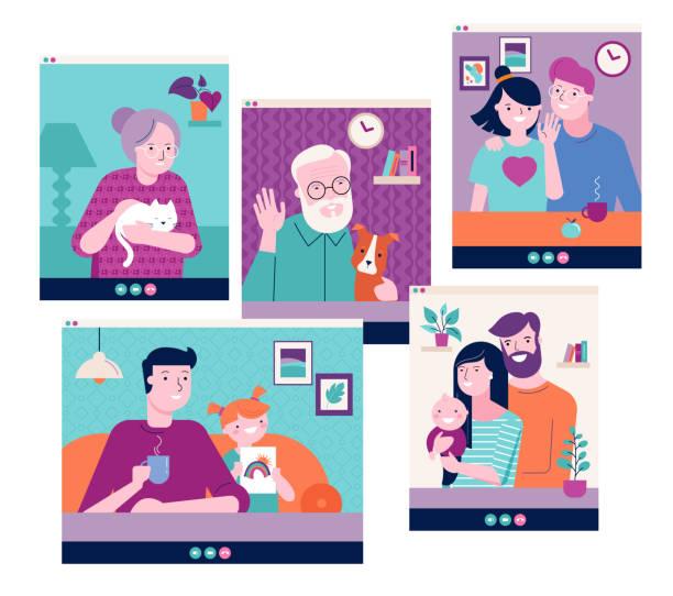familie, großeltern, kinder, paar, junge leute video-chat im internet über laptop, tablet oder computer. covid-19 pandemie-konzept, neuartiger coronavirus-ausbruch - smartphone mit corona app stock-grafiken, -clipart, -cartoons und -symbole