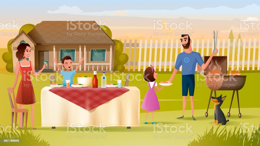 Family Grill Party on Backyard Vector Concept vector art illustration