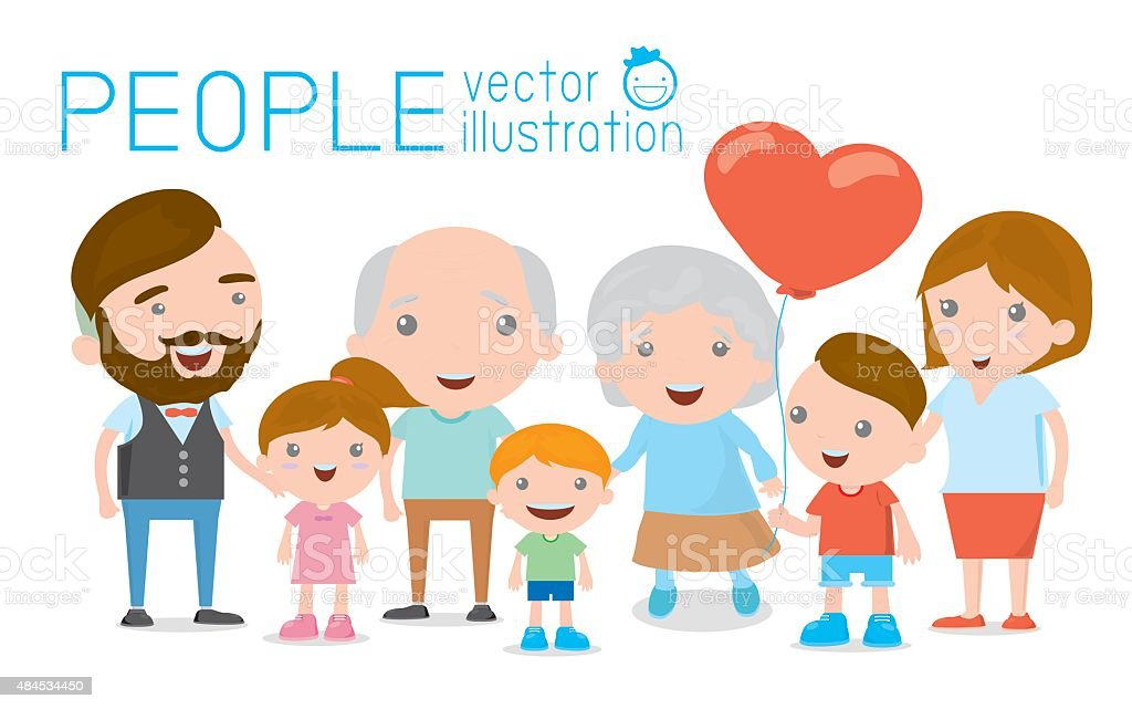 Family Group Portrait Parents Grandparents And Children Happy Cartoon Family Stock Illustration Download Image Now Istock
