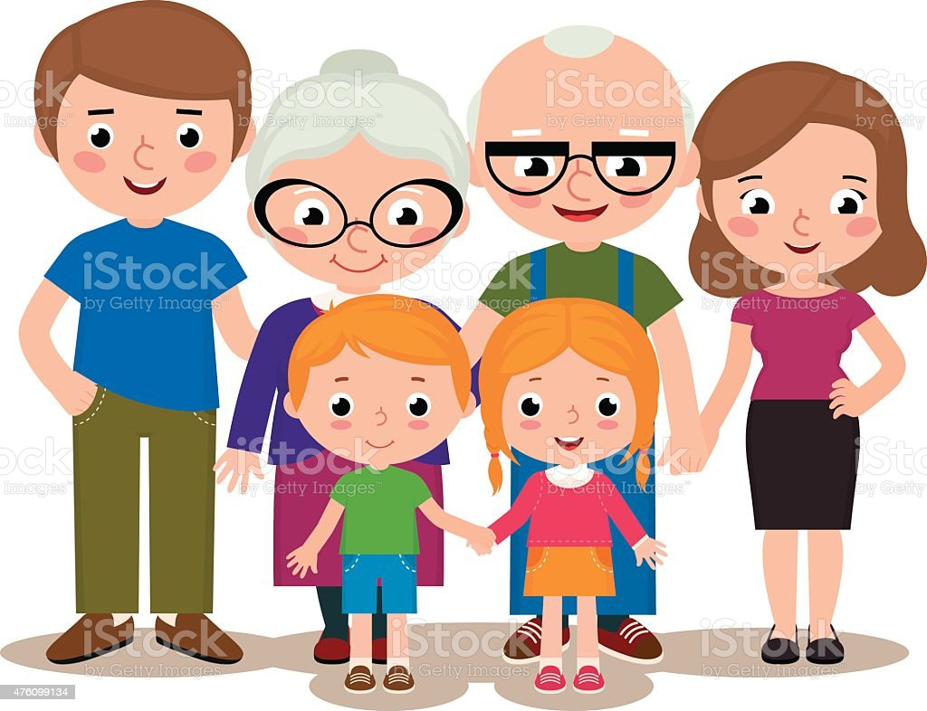 Family group portrait parents grandparents and children vector art illustration