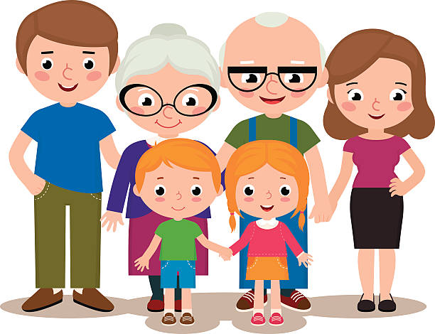 family group portrait parents grandparents and children - brother stock illustrations, clip art, cartoons, & icons
