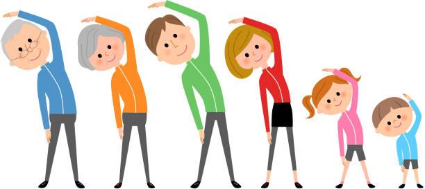家族、体操 - 体操競技点のイラスト素材/クリップアート素材/マンガ素材/アイコン素材