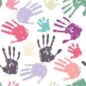 Family handprint seamless pattern