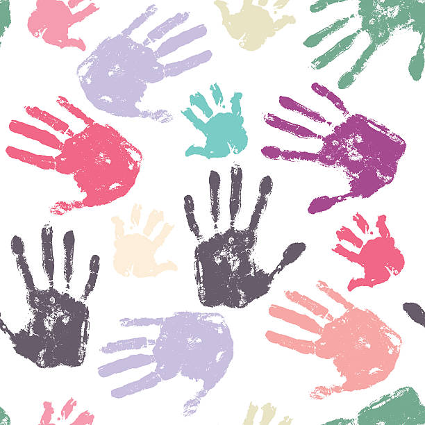 family handprint seamless pattern - handabdruck stock-grafiken, -clipart, -cartoons und -symbole