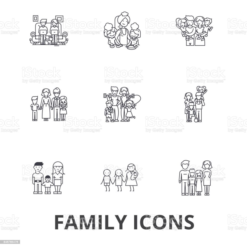 Famille, noces, accueil, plaisir, couple, arbre généalogique, portrait de famille, icônes ligne vacances. Strokes modifiables. Concept de design plat vector illustration symbole. Linéaires signes isolés - Illustration vectorielle