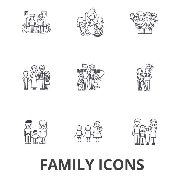 family, happieness, home, fun, couple, family tree, family portrait, vacation line icons. editable strokes. flat design vector illustration symbol concept. linear signs isolated - family stock illustrations, clip art, cartoons, & icons