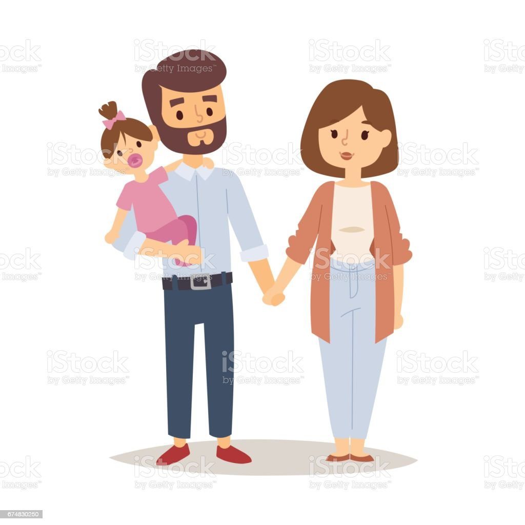Cartoon Characters Couples : Family happy couple cartoon relationship characters