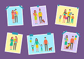 Family happy parents pictures vector set. Newborn child on fathers hands, girl holding balloons and boy brother with ball. Parenting and childhood