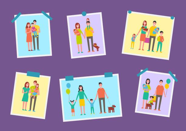 家族幸せな両親の写真ベクトルイラスト - 家族写真点のイラスト素材/クリップアート素材/マンガ素材/アイコン素材