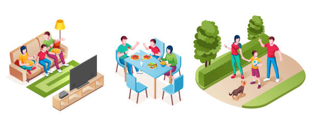 Family happy time together, vector isometric design. Mother and father with son watching TV on sofa with pizza o popcorn, eating lunch or dinner and walking in park with dog, family life and activity Family happy time together, vector isometric design. Mother and father with son watching TV on sofa with pizza o popcorn, eating lunch or dinner and walking in park with dog, family life and activity family watching tv stock illustrations