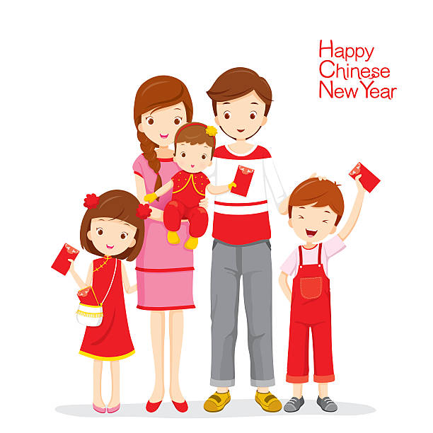 Family Happy With Red Envelopes Vector Art Illustration