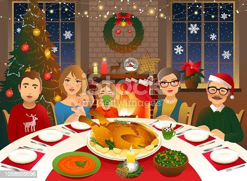 istock Family having a Christmas dinner 1058856596