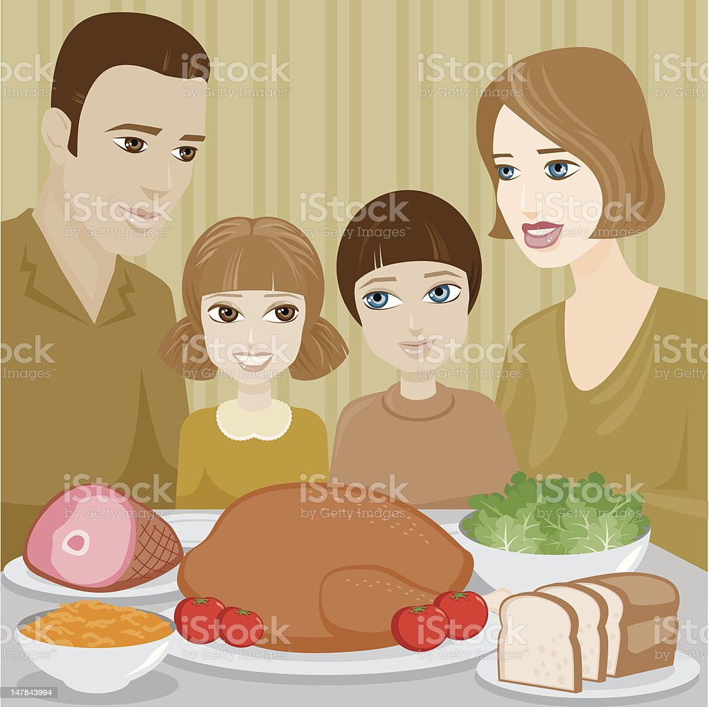 Family Having a Holiday Dinner royalty-free family having a holiday dinner stock vector art & more images of adult
