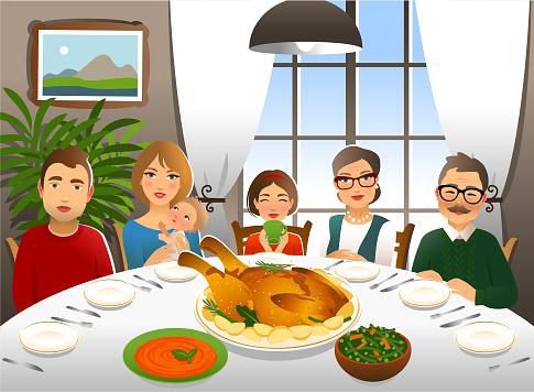Family having a Thanksgiving day dinner