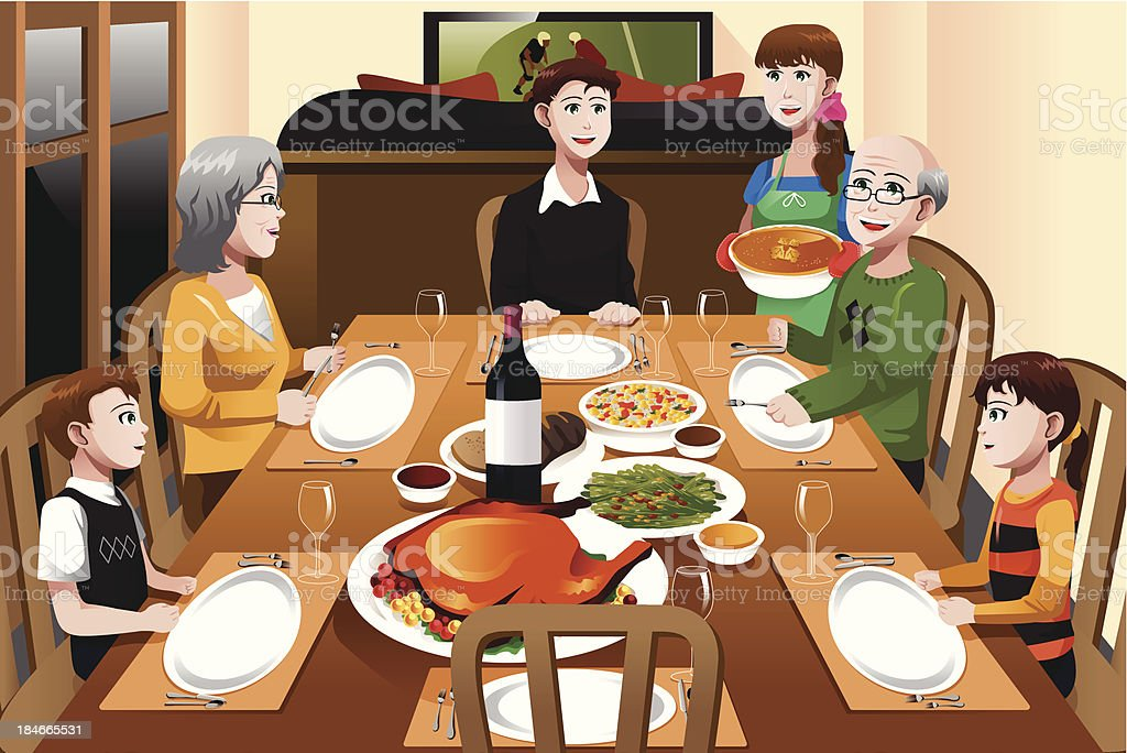 Family having a Thanksgiving dinner royalty-free stock vector art