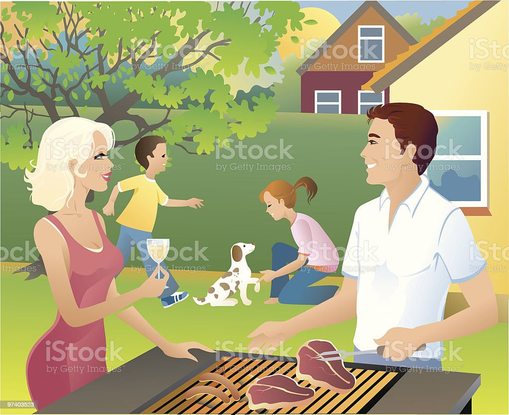 family having barbeque in backyard with children playing stock