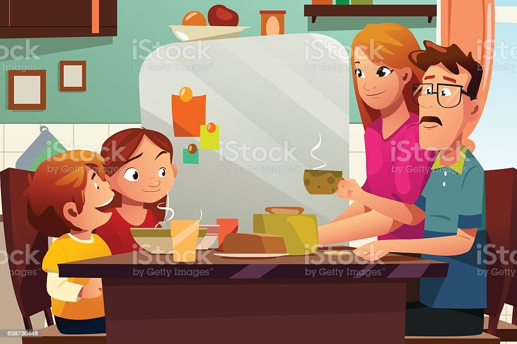Family Having Dinner Together vector art illustration