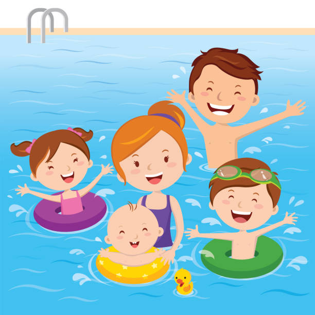 Asian Family Swimming Pool Illustrations, Royalty-Free ...